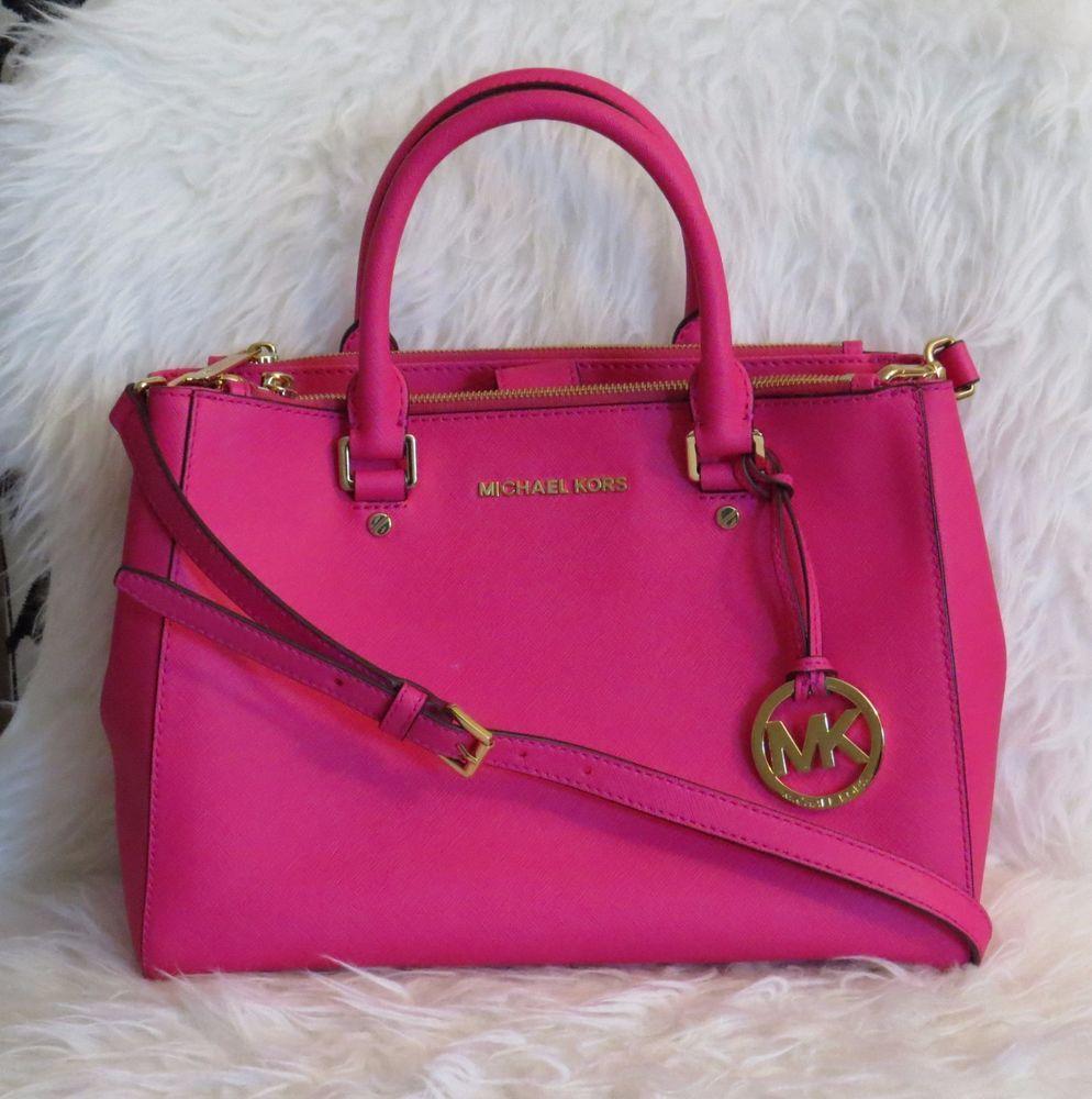3d1102b11d38bc ... cheapest michael kors sutton medium fuschia pink satchel saffiano  leather pristine 368 michaelkors satchel 17617 f5de2 ...