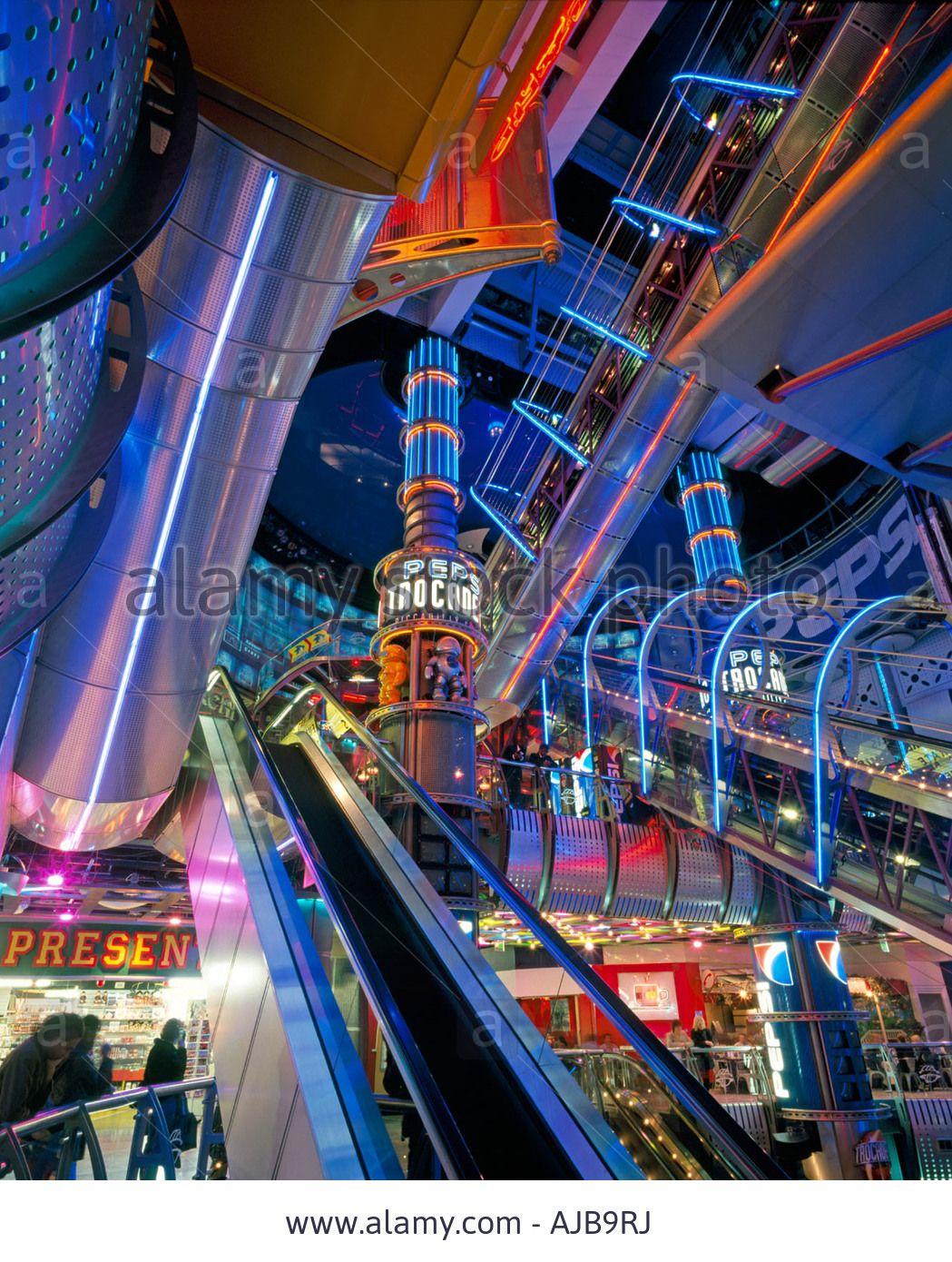 Futuristic Space Age Interiors Of London Trocadero With Neon Lights Ajb9rj Jpg 1049 1390 Shopping Mall Interior Parking Design Futuristic Architecture