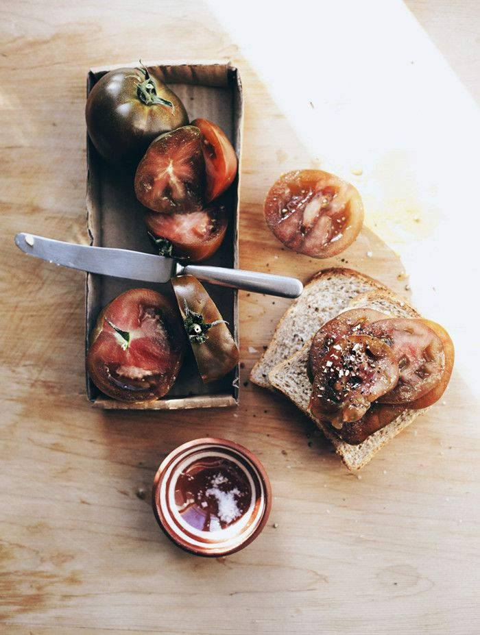 Bread with tomatoes, salt and freshly ground black pepper  | At the breakfast table