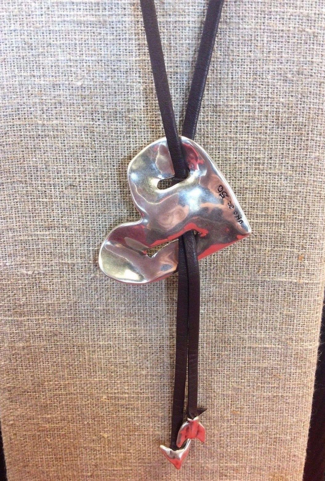 New uno de 50 bonnie clyde heart leather necklace w packaging new uno de 50 bonnie clyde heart leather necklace w packaging col0944marmtl0u mozeypictures Images