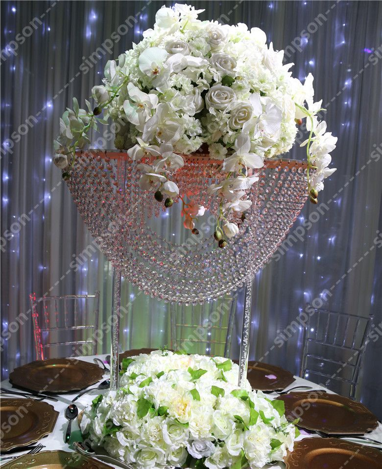 Acrylic Crystal Wedding Centerpiece Free Shipment Flower Stand Long