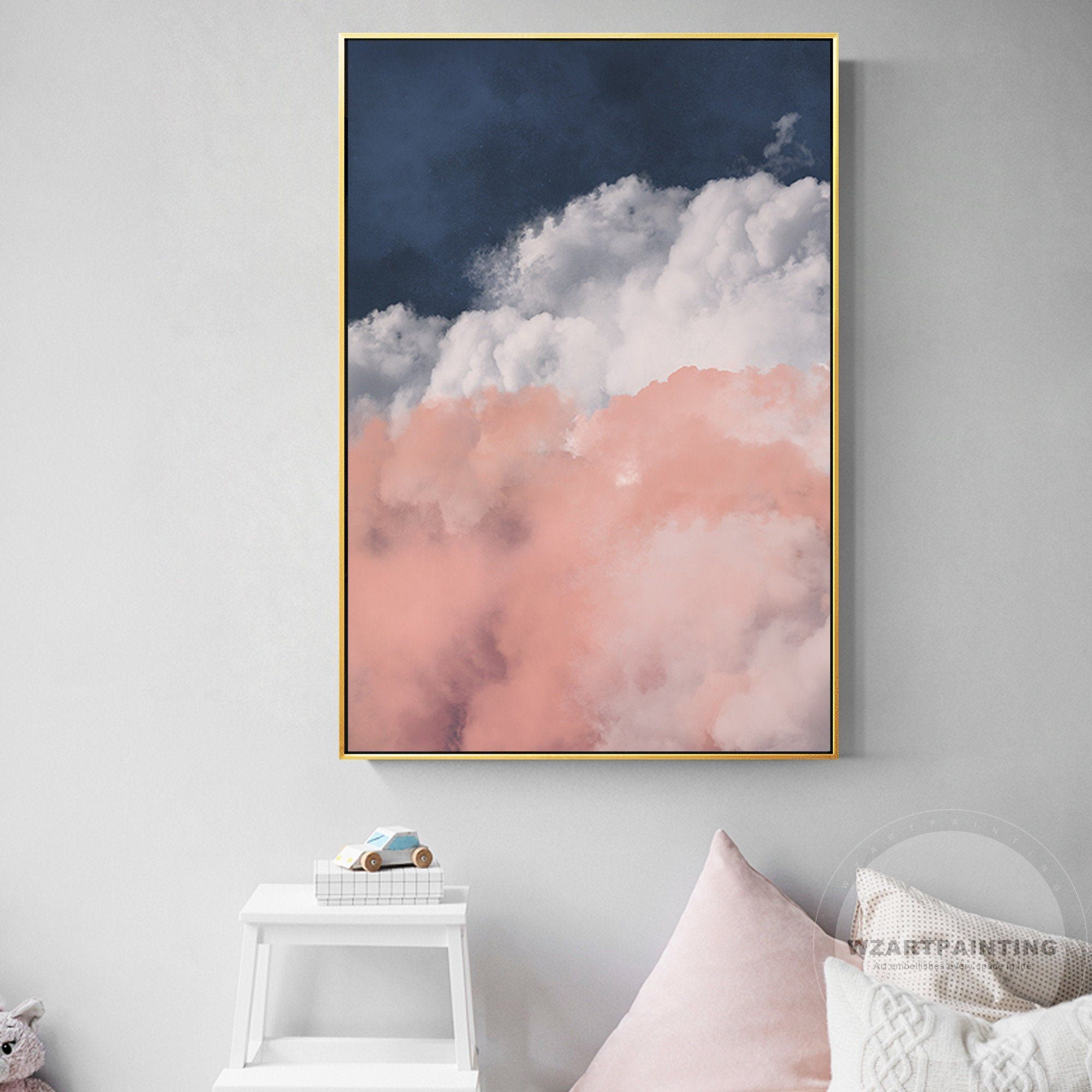 Framed Wall Art Modern Abstract Pink Navy Blue White Cloud Etsy Pink Abstract Painting Wall Art Pictures Pink Wall Art