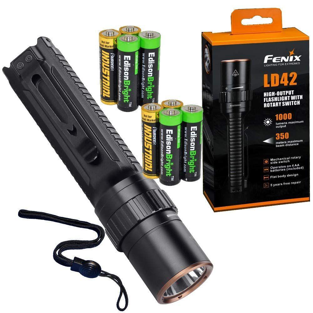Fenix Ld42 1000 Lumen Aa Battery Powered Rotary Controller Led Flashlight With 4 X Edisonbright Aa Batteries Bundle Flashlight Led Flashlight Camping Lights