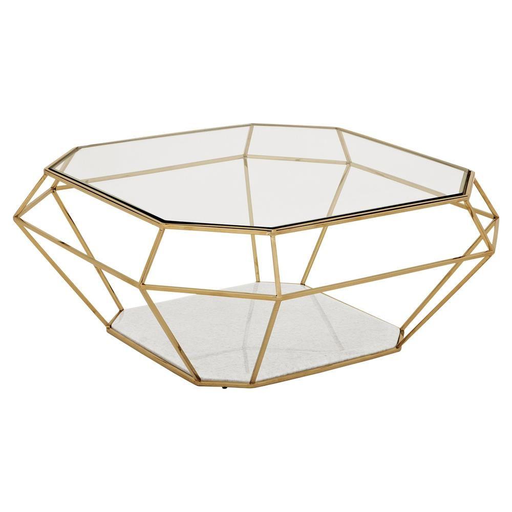 Eichholtz Adler Hollywood Regency Glass Gold Diamond Frame Coffee