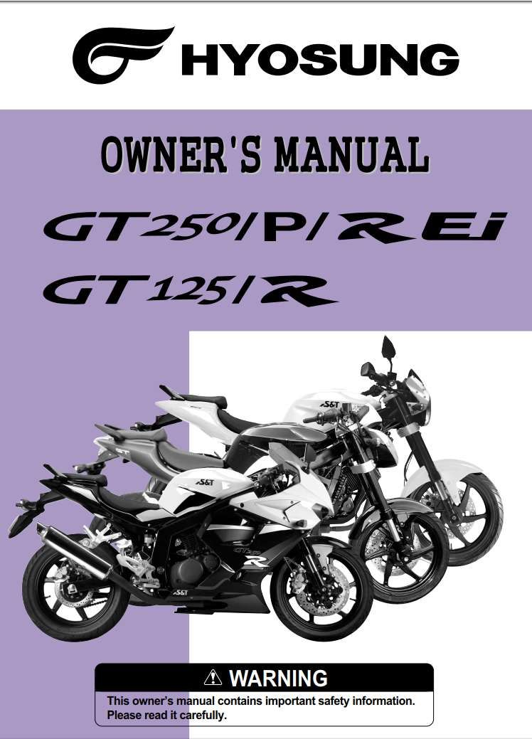 Hyosung Gt250 Gt 125 R 2011 Owner S Manual Has Been Published On Procarmanuals Com Https Procarmanuals Com Hyosung Gt250 Gt 125 In 2020 Owners Manuals Manual Owners