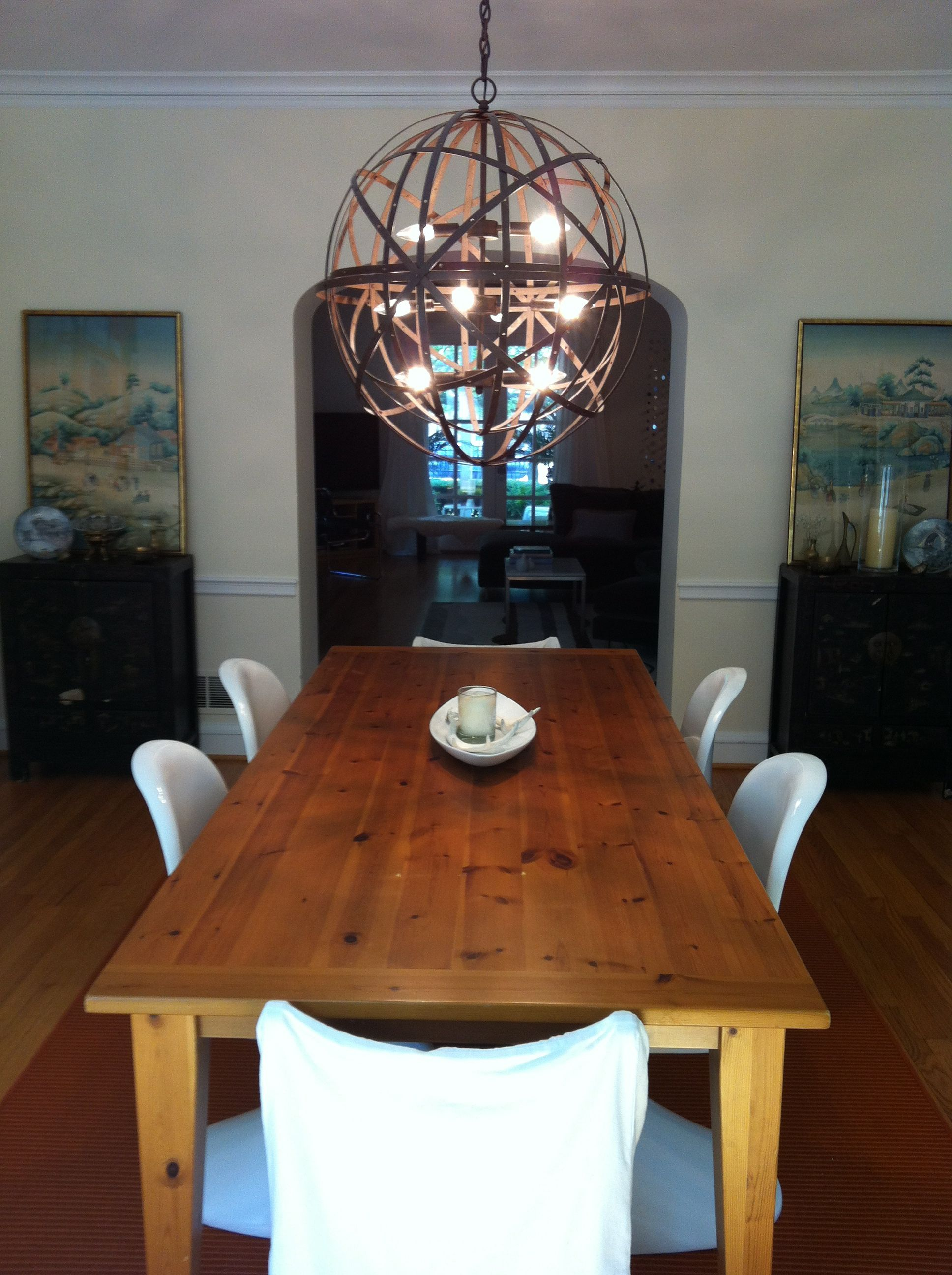 Dining Room  New Wood Table, Modern Chairs, Restoration Hardware Light.
