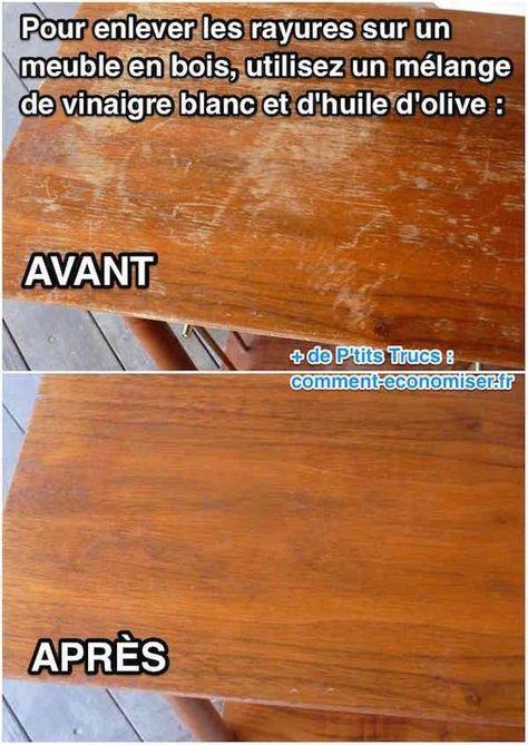 L 39 astuce incroyable pour faire dispara tre les rayures sur un meuble en bois maison pinterest - Nettoyer un meuble en bois avec du vinaigre blanc ...