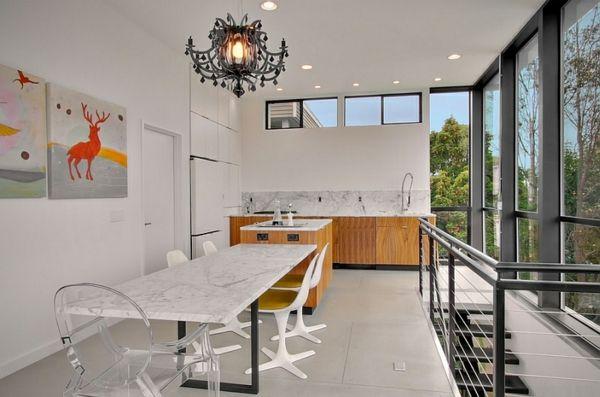 Wie sieht das moderne esszimmer aus k che mit for Esstisch marmorplatte