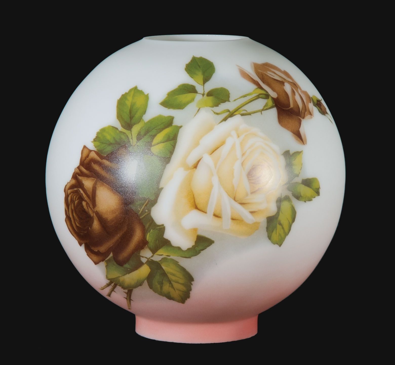 10 Inch Diameter Hand Painted Opal Glass Ball Lamp Shade English Roses Scene 4 Inch Fitter Ball Lamps Glass Ball English Roses