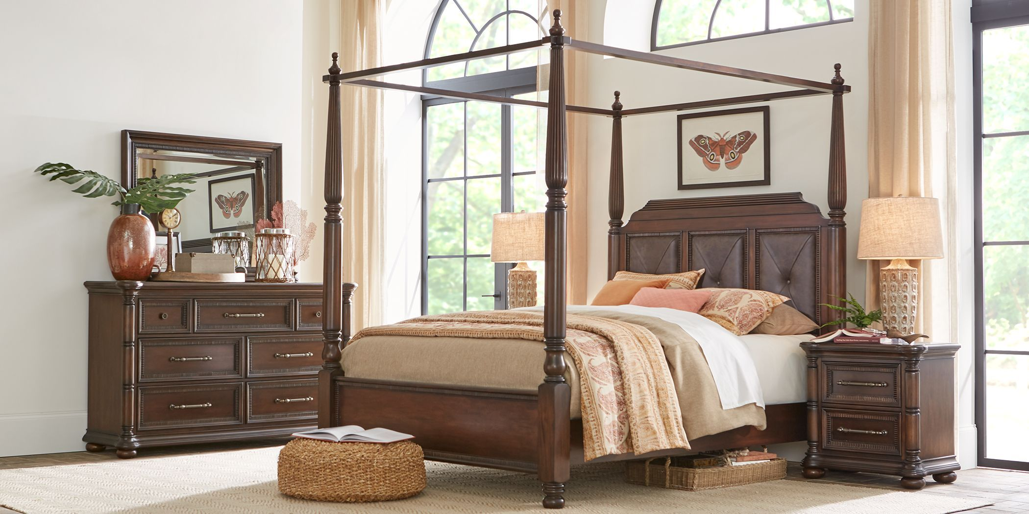 Cindy Crawford Home Grand Cayman Brown 8 Pc King Canopy Bedroom Bedroom Furniture Sets Furniture Queen Sized Bedroom