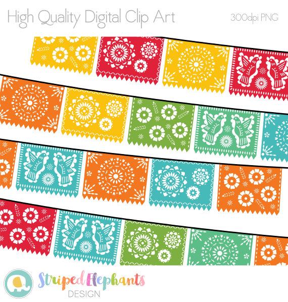 Papel Picado Clipart Printable Mexican Banners Clip Art Etsy Banner Clip Art Clip Art Papel Picado