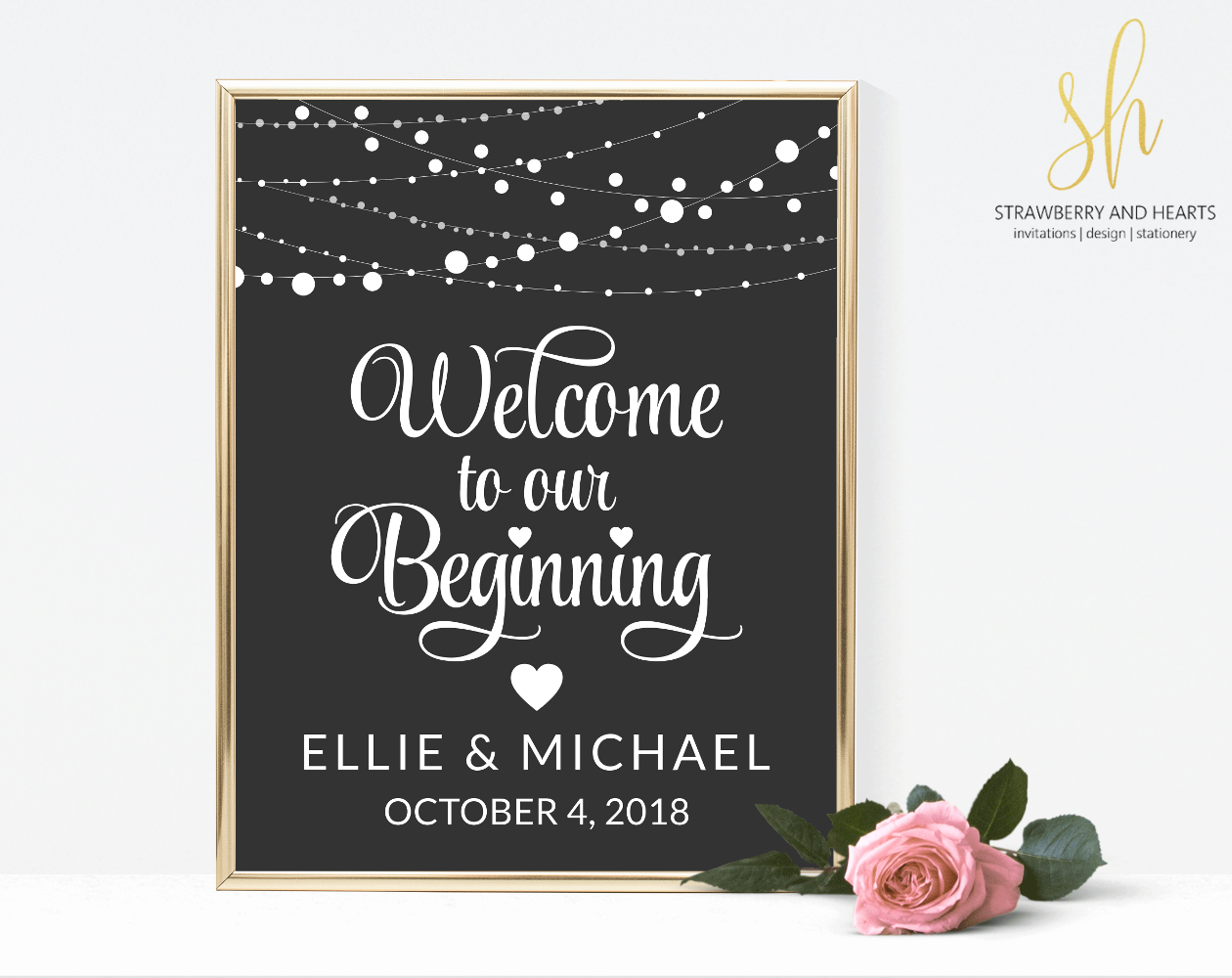 Wedding decorations using pallets october 2018 String Of Lights Welcome Sign  Wedding Signage  Pinterest
