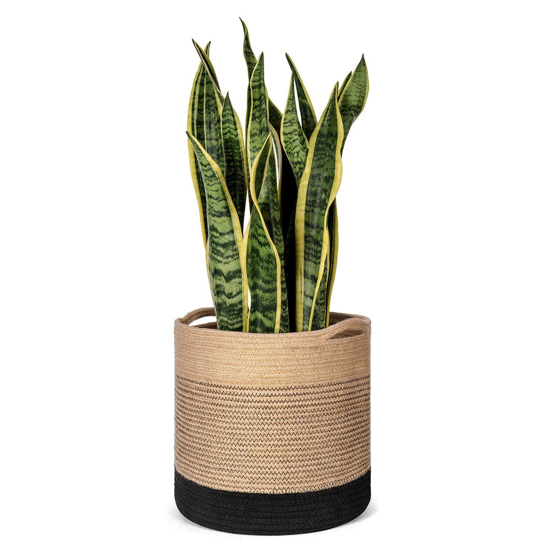 Amazon Com Mkono Jute Plant Basket Modern Indoor Planter Up To 11 Inch Pot Woven Storage Organizer With Handles Home Plant Basket Indoor Planters Flower Pots