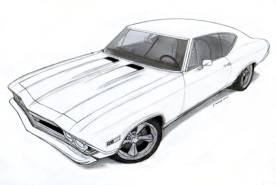 1968 Chevrolet Chevelle SS Pro Touring Drawing by Vertualissimo on ...