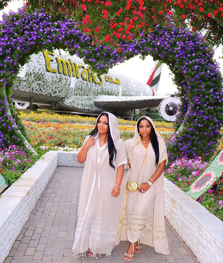 Enjoying the Dubai miracle garden with my beautiful