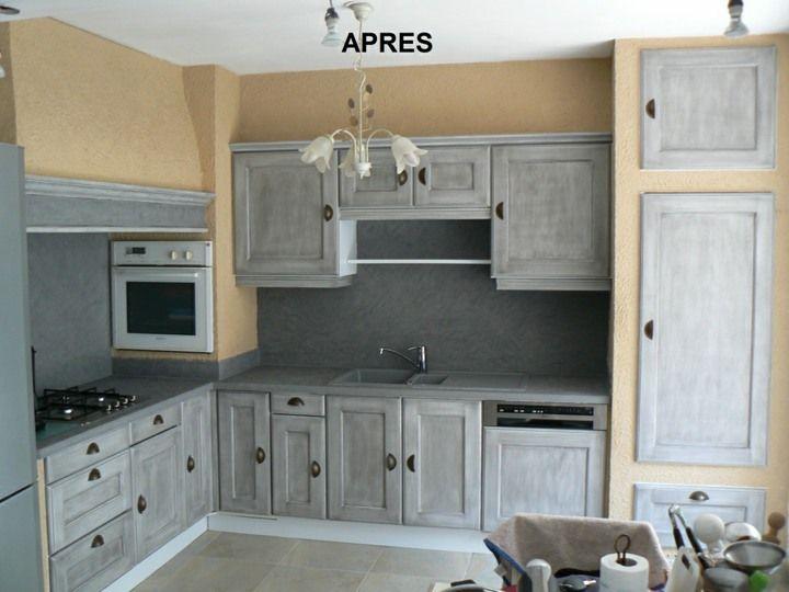 Les cuisines de claudine r novation relookage relooking cuisine meubles peinture sur bois - Renovation meuble en chene ...
