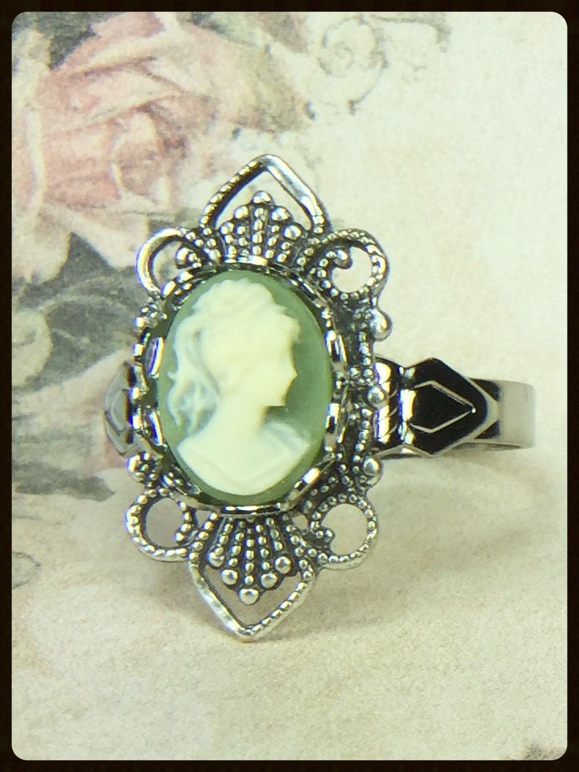 Ornate Filigee Cameo Ring