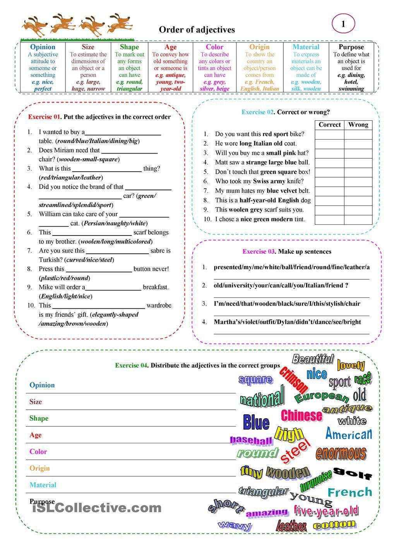 best 25 order of adjectives worksheet ideas on pinterest order of adjectives subject verb. Black Bedroom Furniture Sets. Home Design Ideas