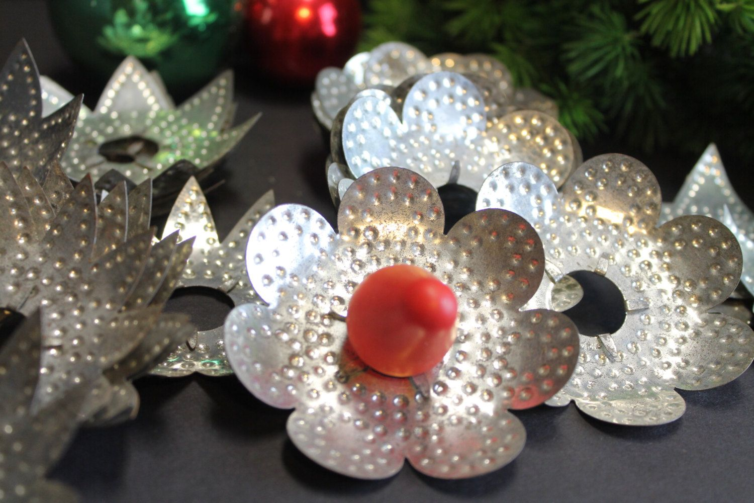 24 vintage punched tin christmas light reflectors stars and flowers primitive tin