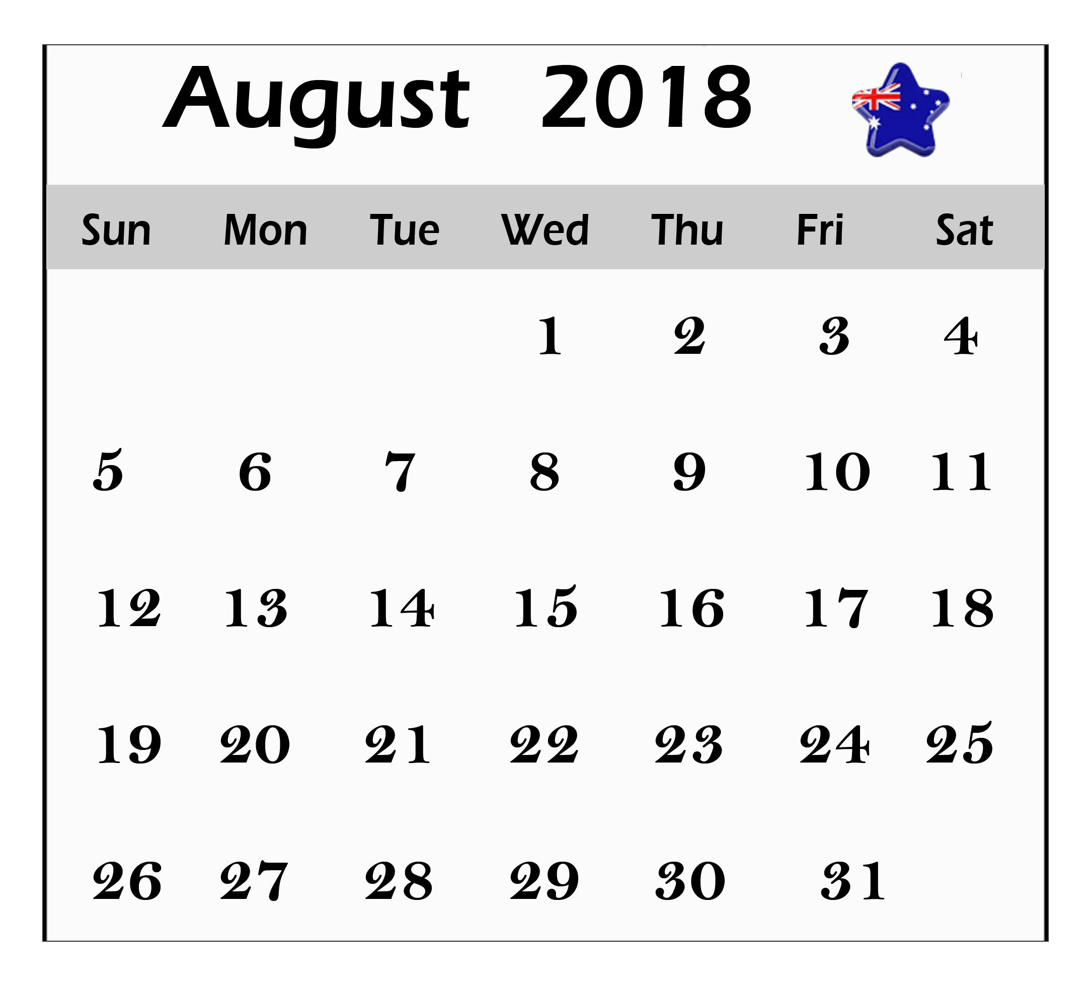 August Calendar Australia Worksheet