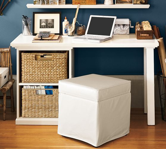 Pottery Barn Bedford Small Desk Set With Open Cabinets And Savannah Utility Baskets Sherwin Williams Naval On The Wall Wood Floors