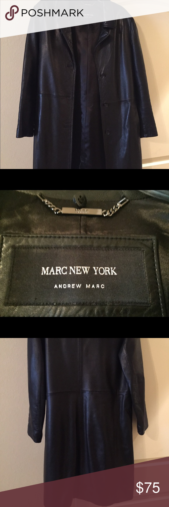 Marc New York Real Leather Trench coat Marc New York