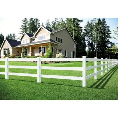 Veranda 1 1 2 In X 5 1 2 In X 8 Ft White Vinyl Ranch Fence Rail 135040 The Home Depot Ranch Fencing White Vinyl Fence Post And Rail Fence