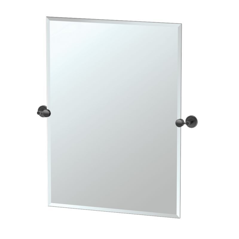 "Gatco 42.9S Latitude ll 23-1/2"" x 31-1/2"" Beveled Frameless Rectangular Tilting Matte Black Home Decor Mirrors"