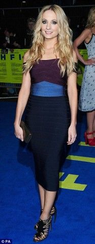 Herve Leger Purple Blue Colorblocked Bandage Dress [Joanne Herve Leger Purple Dress]