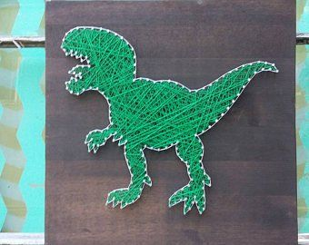 String Art Dinosaur, Dino Wall Art, Wood Dinosaur, Red Dino Sign, Stegosaurus Sign, Nail and String Art Dinosaur, Dino Theme Decor