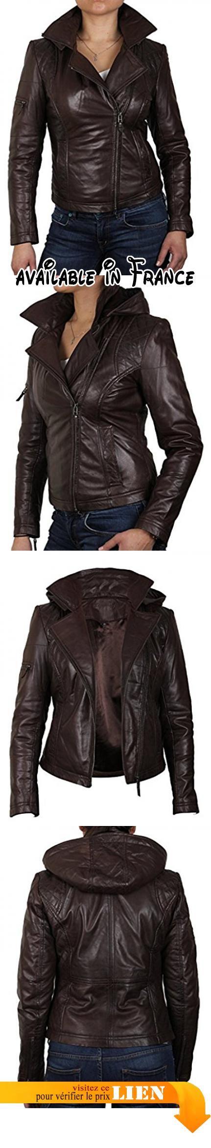 de con para marrón mujer Zztqft estilo cuero chaqueta capucha biker Diseño rdsQht