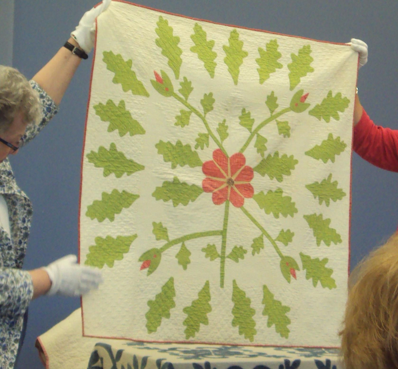 "Crib quilt shown at lecture:  Phyllis Twigg Hatcher, ""150 Years of Quilts,"" at Peconic Quilt Show, Long Island"