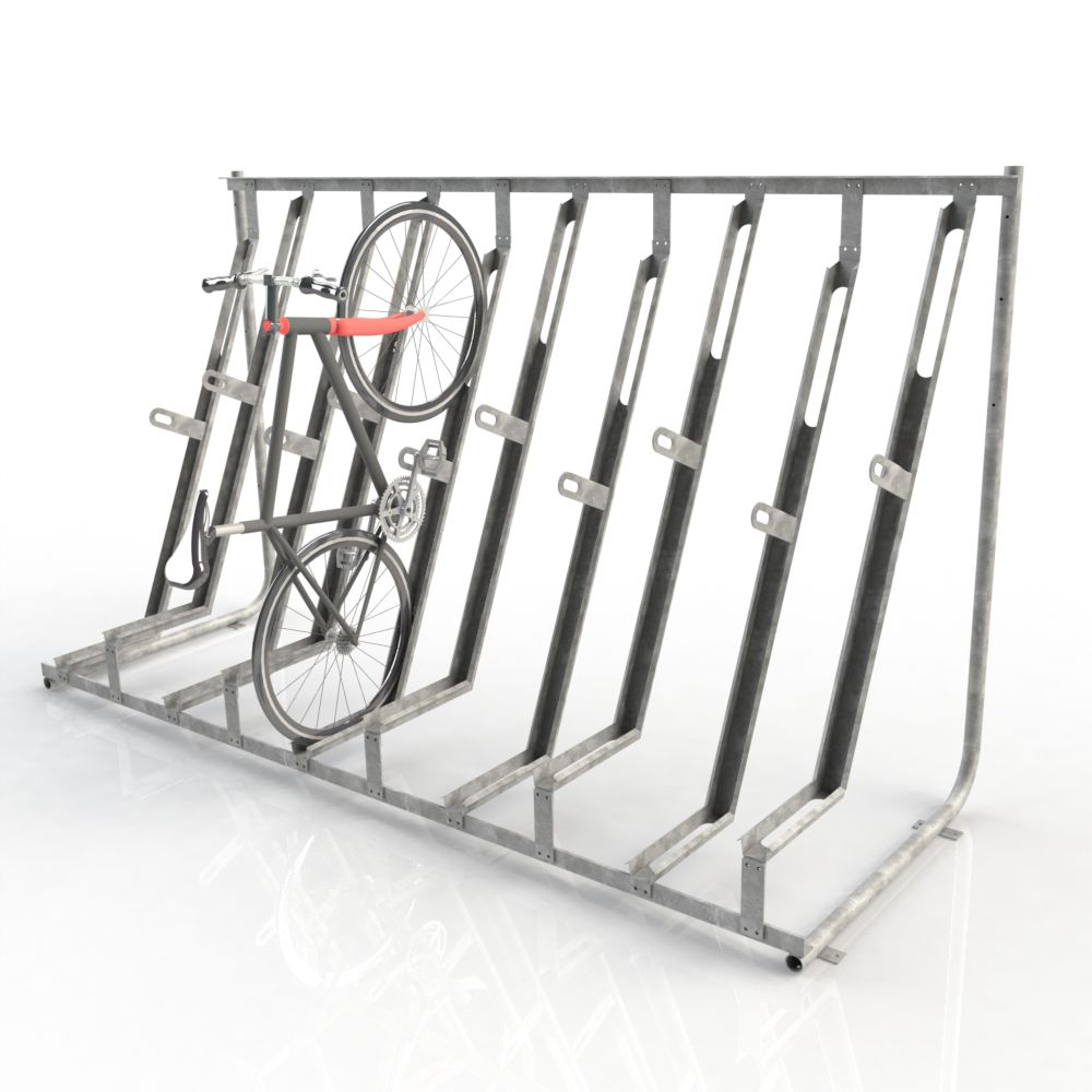 Look jeremy s bicycle rack apartment therapy - The Falcovert Is A Semi Vertical Cycle Parking Rack Ideal For Accommodating A Larger Number Of