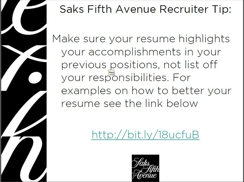 Resume Tip from a Saks Recruiter Job Search Tips \ Career Advice - job recruiter resume