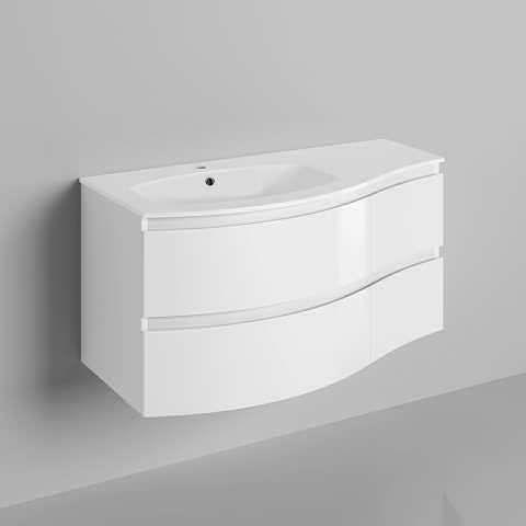 24++ White high gloss wall mounted bathroom cabinet custom