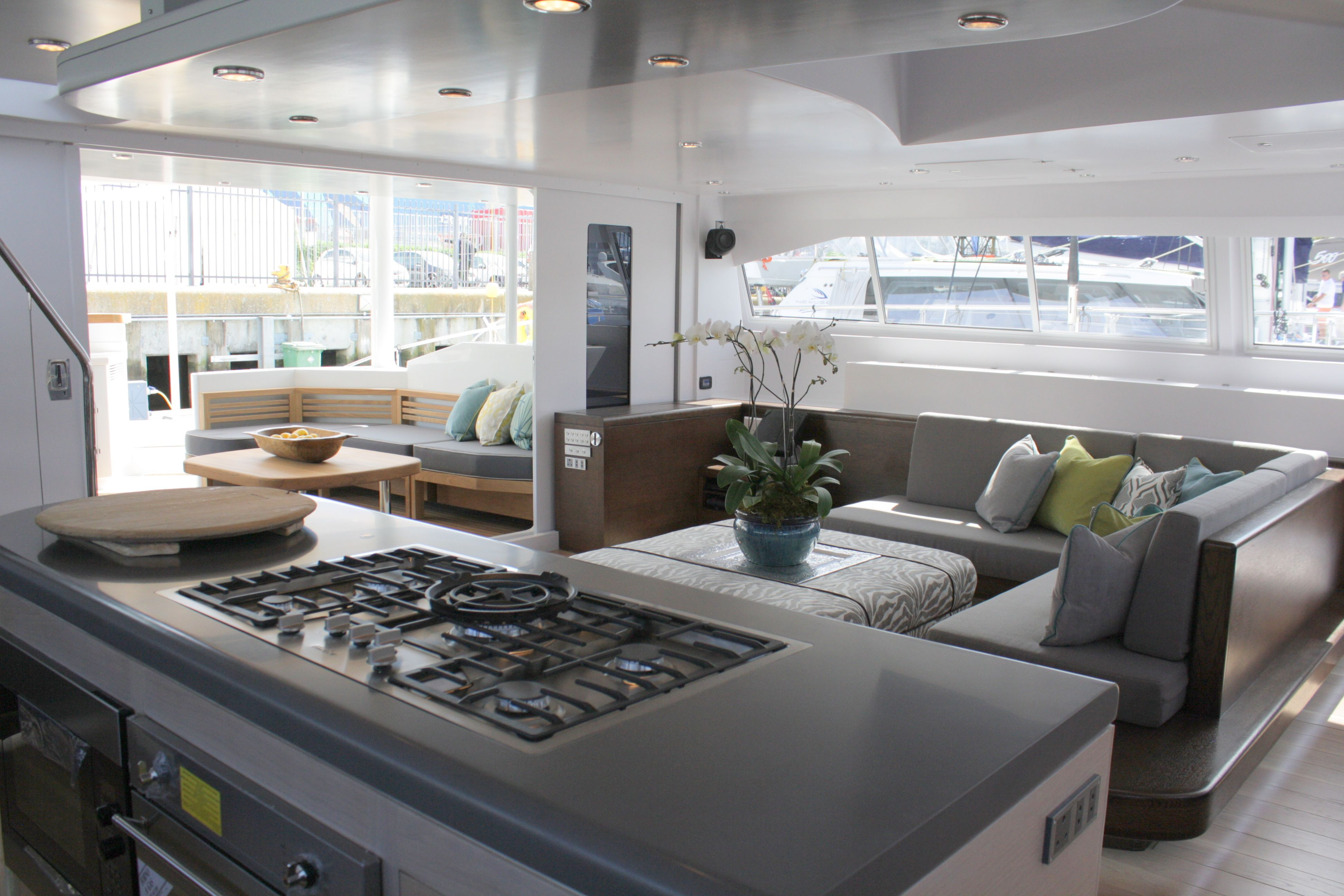 The Interior Of Beautiful Open Ocean 750 Sailing Catamaran Hull And Design By