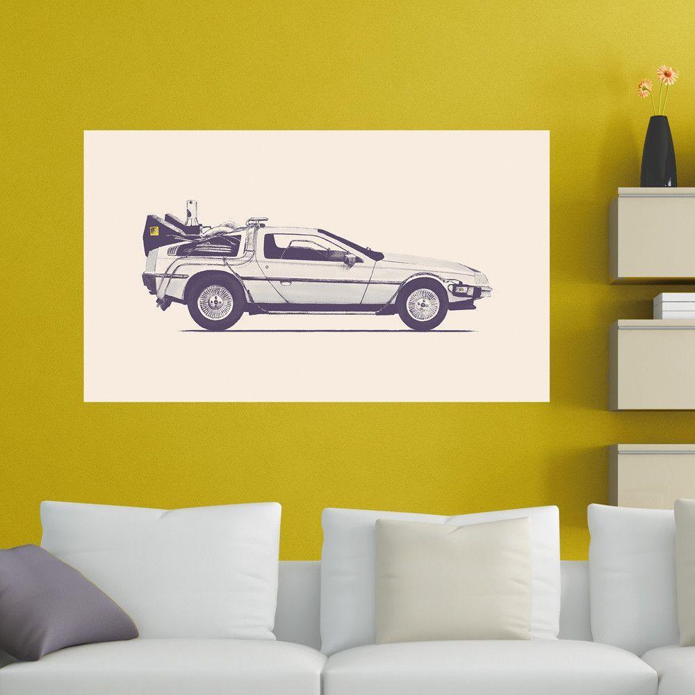 Futuristic Delorean Car Wall Decal Sticker by Florent Bodart ...