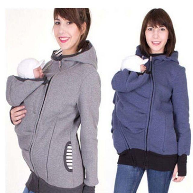 ba26ea85d 3 en 1 de maternidad embarazo canguro abrigo Sudadera con capucha bebé  llevar Sudadera con capucha