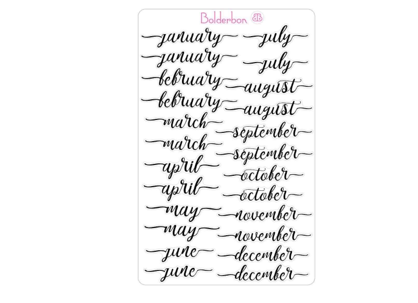 Month Stickers Bullet Journal Script Vinyl Bujo Stickers Monthly Planner Handlettering Brush Lettering Calendar Cursive In 2020 Lettering Journal Stickers Bullet Journal Stickers