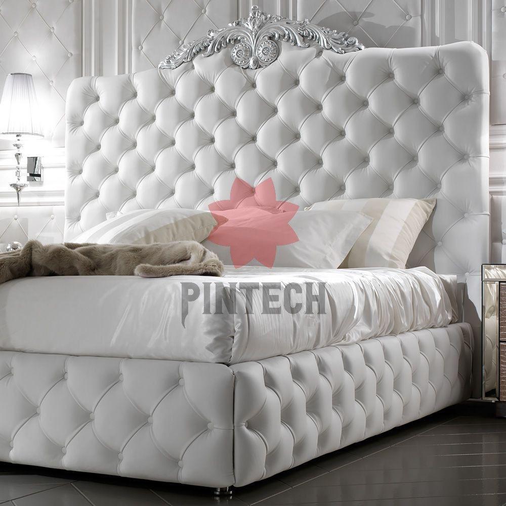 Exklusive Luxus Italienische Weisses Leder Bett Juliettes Interieur Exklusive Luxus Italienische Weisses Leder In 2020 White Leather Bed Leather Bed Luxury Mattresses