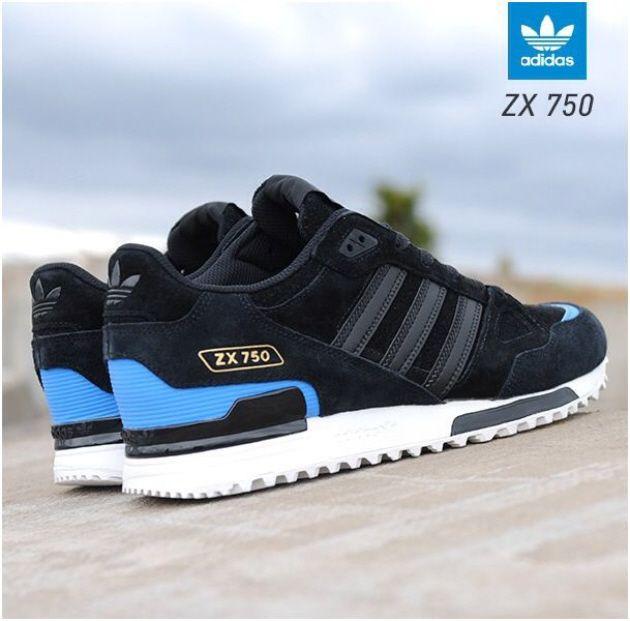 buy popular d7cf2 2bad4 adidas Originals ZX 750 – Black – Blue   White