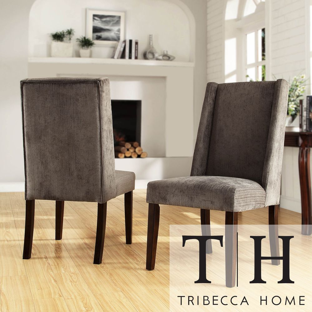 tribecca home ian grey chenille wingback dining chair set