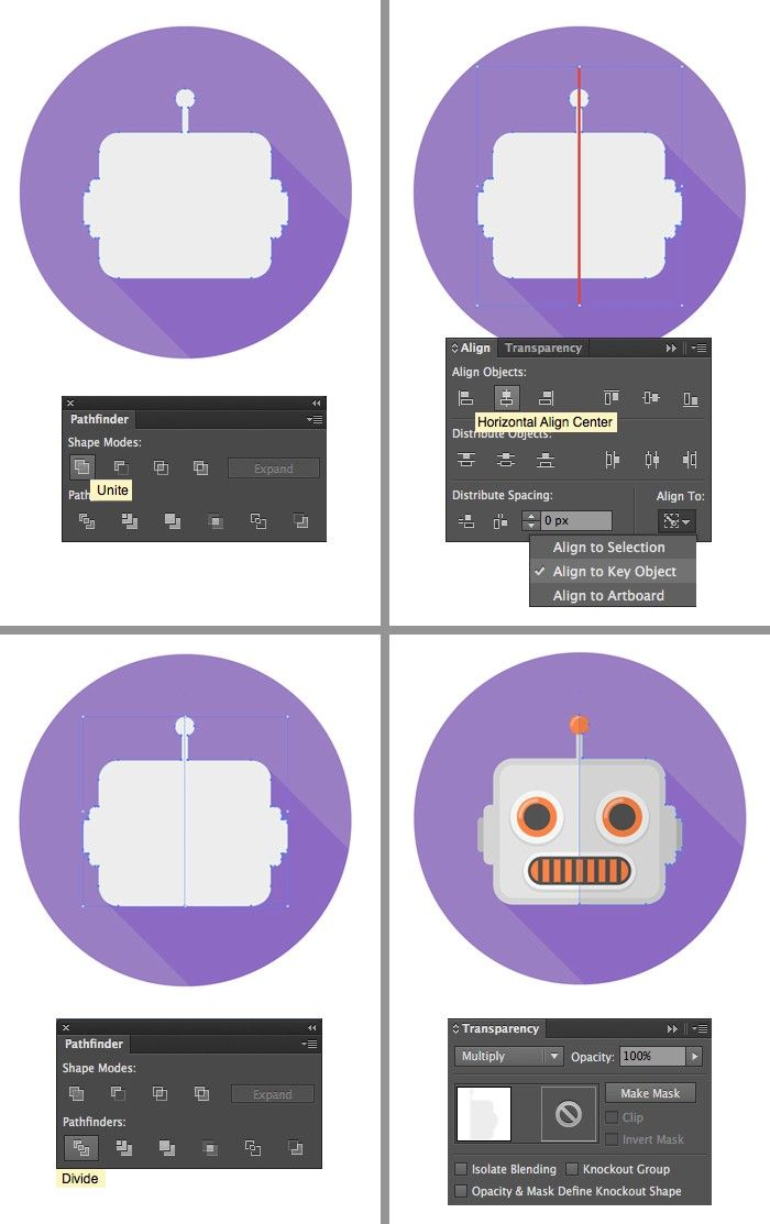 Create  set of scalable flat robot icons in adobe illustrator tutorial logo tutorials illustration also rh pinterest