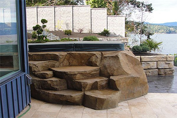 Hand Carved Concrete Spa Steps Faux Stone With Images Hot Tub