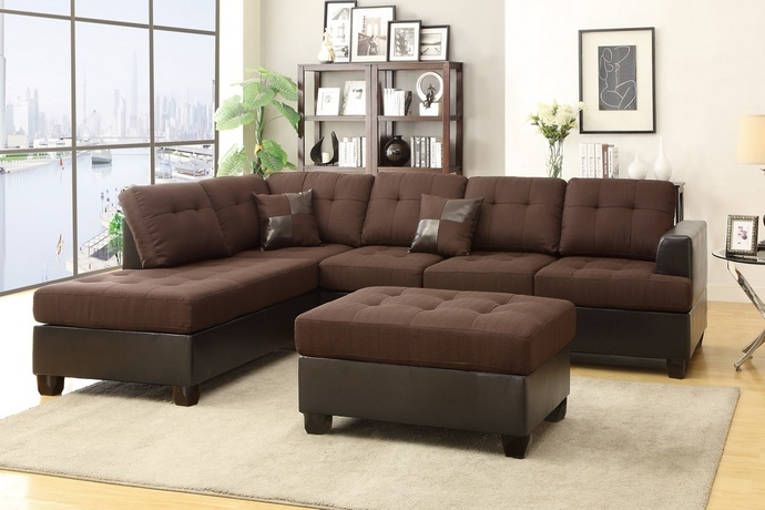 Poundex F7602 3 Pc Ellus Fleur De Lis Living Girouard Chocolate Polyfiber And Faux Leather Sectional Sofa Reversible Chaise And Ottoman With Images Fabric Sectional Sofas Sectional Sofa 3 Piece Sectional Sofa