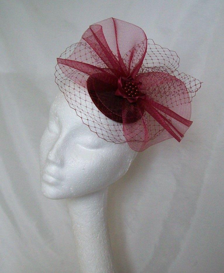 918546c42 Burgundy Eizabeth Fascinator Mini hat, Order Now from www ...