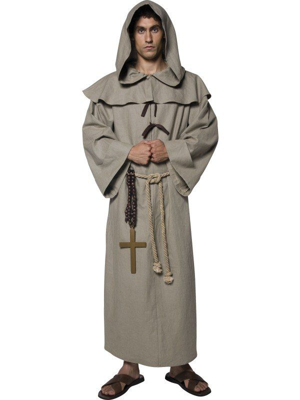 8fd105b220 Adult Robin Hood Friar Tuck Robe   Medieval Monk Mens Fancy Dress Costume  Outfit