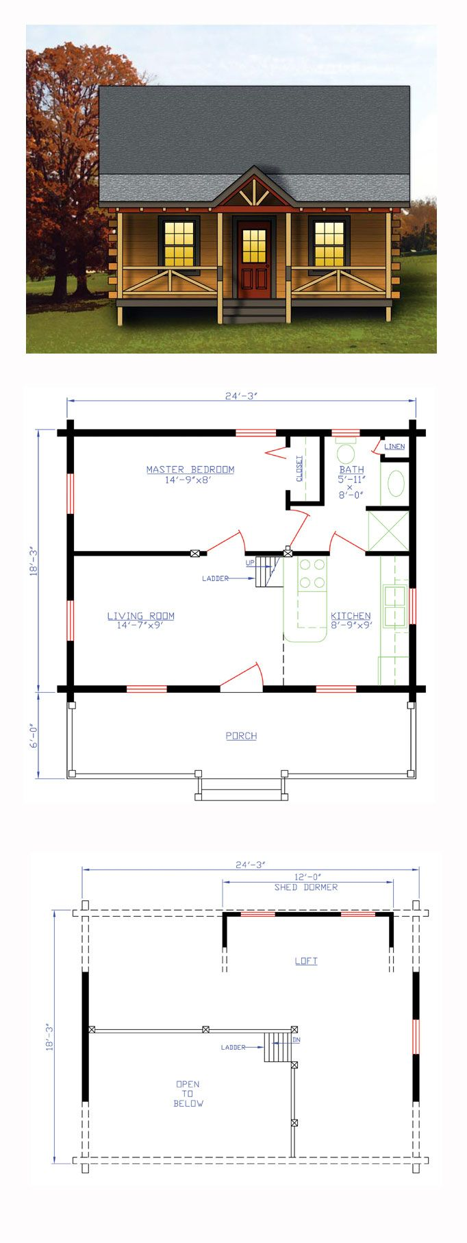 Narrow Lot Style House Plan 74109 With 1 Bed 1 Bath Log Cabin House Plans Cabin House Plans House Plans