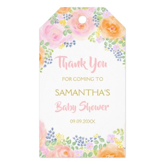 Thank You Pink Roses Watercolor Floral Baby Shower Gift Tags | Zazzle.com images