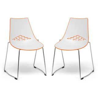 @Overstock.com - Jupiter White and Orange Plastic Modern Dining Chairs (Set of 2) - Give your dining room a retro flashback with this modern set of two dining chairs. These chairs are a throwback to yesteryear and feature plastic and steel construction with chrome-finished legs and a fun and vibrant white and orange color palette.  http://www.overstock.com/Home-Garden/Jupiter-White-and-Orange-Plastic-Modern-Dining-Chairs-Set-of-2/5810512/product.html?CID=214117 $195.99